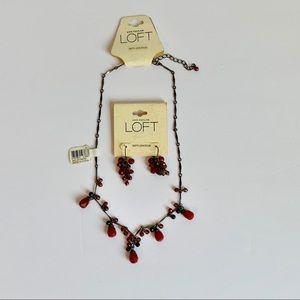 LOFT Semiprecious Necklace & Earrings Set